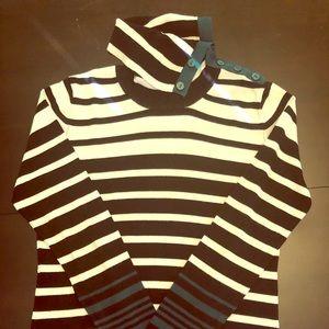Sweater, black/white/green striped
